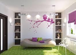 Purple Bedroom Feature Wall - kids bedroom fancy white modern bedroom feature purple owl