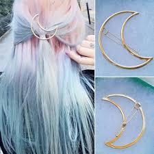 barrette hair crescent moon barrette hair clip silver gold fashion kawaii