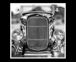 vintage ford roadster rod home wall decor black and white