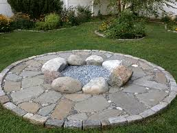 Backyard Stone Fire Pit fire pit with beach pebbles boulders and blue stone firepit