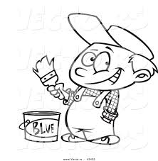 vector of a happy cartoon painter boy with a bucket of blue paint
