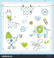 Unique Baby Shower Invitation Cards Scrapbook Design Elements Cute Unique Baby Boy Stock Vector
