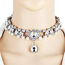 crystal choker necklace wedding images Botrong women full diamond crystal rhinestone choker jpg