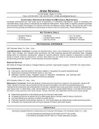 Central Service Technician Resume Sample by Maintenance Resume Template