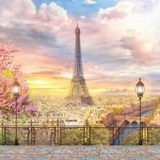 backdrop city eiffel tower sunset backdrop city scenic background studio photo