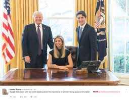 Oval Office Drapes by Ivanka Sitting At The Resolute Desk In The Oval Office With Trump
