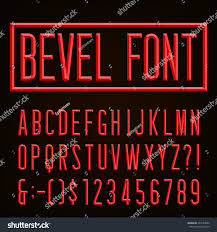 beveled narrow block letters numbers punctuation stock vector