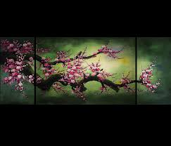 Cherry Home Decor by Feng Shui Painting Wall Art Decor Chinese Cherry Blossom Painting