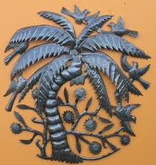 haiti metal art palm tree recycled steel drum art tropical loading zoom