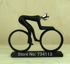 handmade resin bike racing statue abstract bicycle rider sculpture