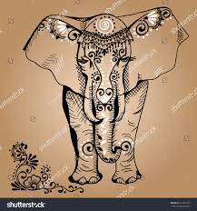 stylized drawing elephant traditional painted floral stock vector
