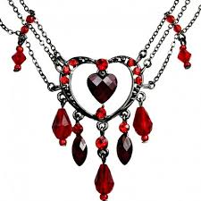 beaded drop necklace images Fashion red heart chandelier necklace rhinestone costume jewellery uk jpg