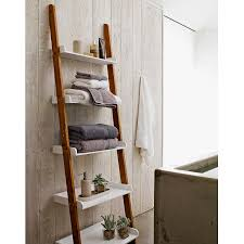furniture white brown wooden leaning ladder shelf for towel in