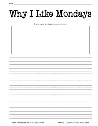 why i like mondays printable writing prompt worksheet daily 5