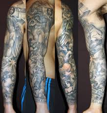 tatouage bras homme entier religous sleeve tattoo tattoos blackandgrey tattoosleeve