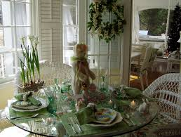 Beautiful Easter Table Decorations by Table Setting Tablescape With Bunny Centerpiece