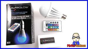 auraglow colour changing led light bulb w remote control