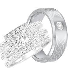 his and wedding rings his hers halo 925 sterling silver tungsten engagement wedding