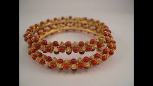 gold pearl bangle bracelet images Designer pearl coral bangles collections gold bangles jpg