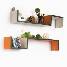 on the shelf accessories accessories charming asymmetrical shelves wall mounted orange