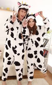 Halloween Costume Couple Clothes Flannel Mascot Uniform Cartoon Women Men Kid