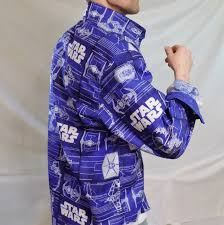 Blue Print Size by Star Wars Printed Handmade Mens Oxford Button Down Shirt Star