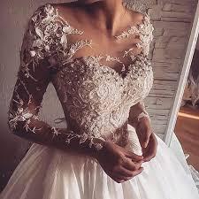 Wedding Dress Murah Dramatic A Line Scoop Long Sleeves Floor Length Wedding Dress With