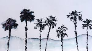 art and music sketching palm trees