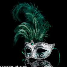 feather mask silver green venetian feather mask