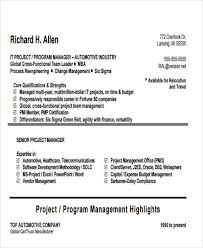 It Program Manager Resume 43 Manager Resumes In Pdf