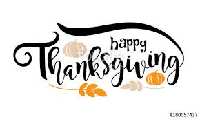 happy thanksgiving text design lettering with pumpkins and leaves