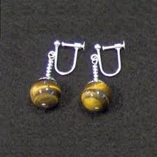 potara earrings clip on tigers eye potara earrings z