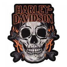 harley davidson mechanic skull flames patch harley davidson patches