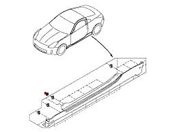 nissan 350z drawing oem 350z side skirt grommet z1 motorsports