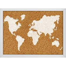 Cork World Map by Wallpops 23 5 In X 17 In The World Printed Cork Board Hb2164
