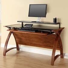 walnut corner computer desk curve workstation desk