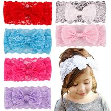 toddler hair accessories 7pcs lot wholesale kids girl baby headband toddler lace big bow