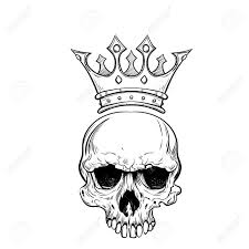 sketch skull with crown royalty free cliparts vectors