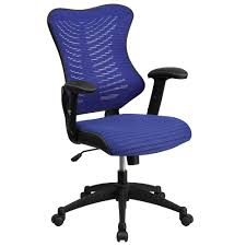 Blue Leather Executive Office Chair Mesh Office Chair Computer Chair Ergonomic Office Chair
