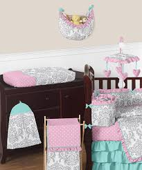 Gray And Turquoise Bedding Pink Gray And Turquoise Skylar Baby Bedding 9pc Girls Crib Set