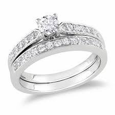 silver bridal rings images 1 2 ct t w diamond bridal set in sterling silver engagement jpg