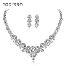 bridal jewelry mecresh luxurious silver color bridal jewelry sets leaf