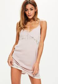 pink contrast lace insert satin cami dress missguided