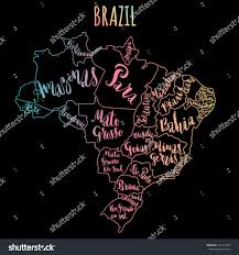 Map With State Names by Brazil Map States Vector Illustration Hand Stock Vector 451313209