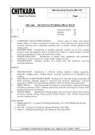 manufacturing practice lab manual b tech mechanical engineering