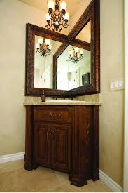 Wood Frames For Bathroom Mirrors L Shaped Corner Mirror With Carved Brown Wooden Frame On Grey Wall
