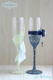 wedding goblets buy wedding glasses beautiful blue ivory painting on