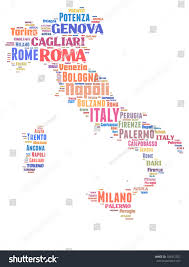 Italy Map With Cities Italy Map Words Cloud Major Cities Stock Illustration 104972927