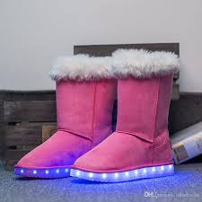 suede leather snow boots led light up shoes usb charging velvet