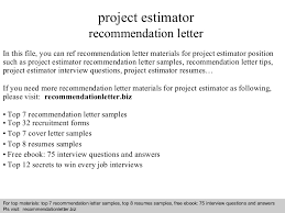 Construction Estimator Resume Sample by Project Estimator Recommendation Letter
